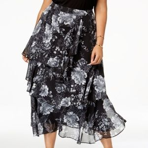I.N.C. Plus Size Printed Tiered Skirt
